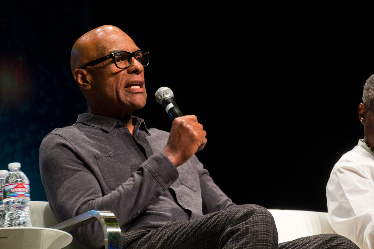 Michael Dorn on stage at Star Trek Las Vegas. Photo credit  Nick Duguid .