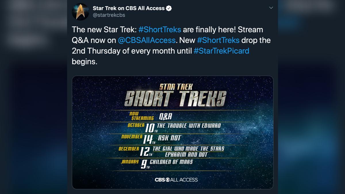 Star Trek Short Treks  schedule 2019-20