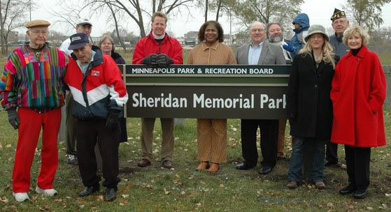 - Northeast veterans, community members and public officials pose for a photo at the Sheridan Memorial Park Land Dedication event on Nov. 9, 2007.
