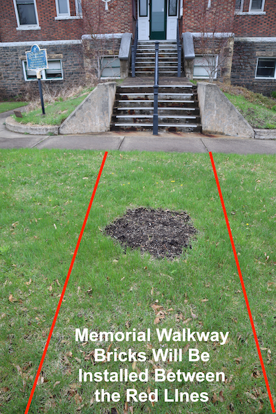 The restored walkway will be constructed in the area within the red lines. The space has room for a limited number of inscribed bricks, so you will want to order your bricks early.