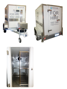 2.2m x 1.3m x 1.7m Coolroom or Freezer - This mobile coolroom can be set as a fridge or a freezer with a temperature range of +15 degrees to - 20 degrees C.SpecificationsInternal dimensions = 2.2m long x 1.3m wide x 1.7m highDual Axle heavy duty trailerTemperature adjustable from +15 to -15 degreesRear entry doorStandard 10 amp plug