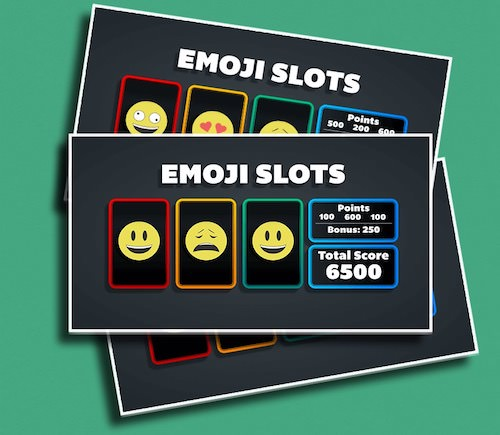 """Emoji Slots - Just yell, """"STOP!"""" and see if you can land on a three of a kind!"""
