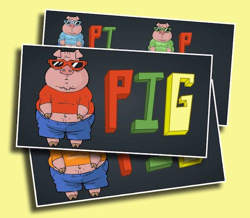 Pig Scoreboard - A scoreboard perfect for games of PIG and up to 4 students/teams!