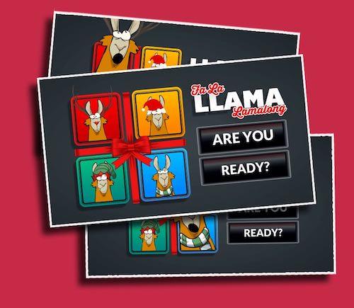 Fa La Llama Llamalong - A Christmas themed Simon-says game with Llamas that can't sing.