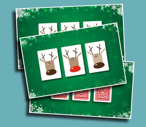 Follow the Red Nose - See if your students can keep track of the card with Rudolf on it!
