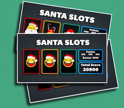 """Santa Slots - Just yell, """"STOP!"""" and see if you can land on a three of a kind!"""
