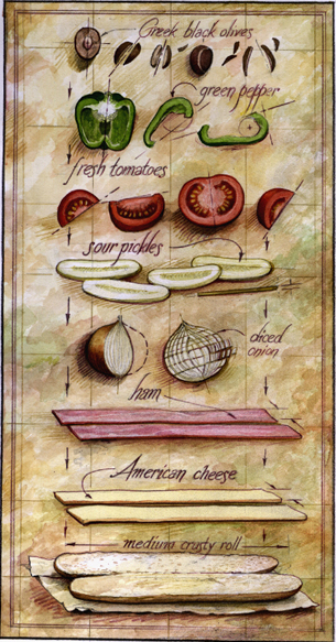Blueprint assembly of a sandwich -Illustration for Yankee Magazine
