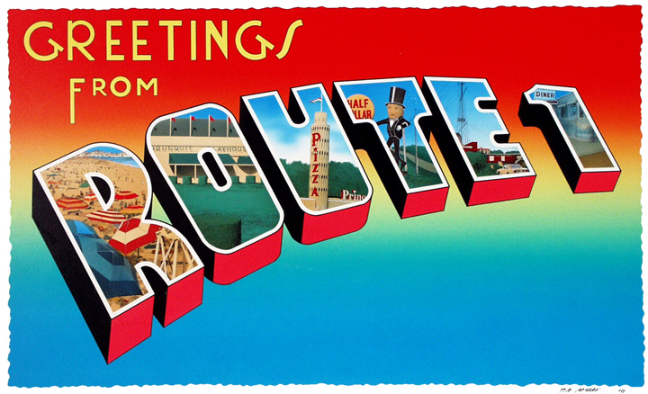 Retro postcard style. Route One -New England Scenes captured in Picture Letters.