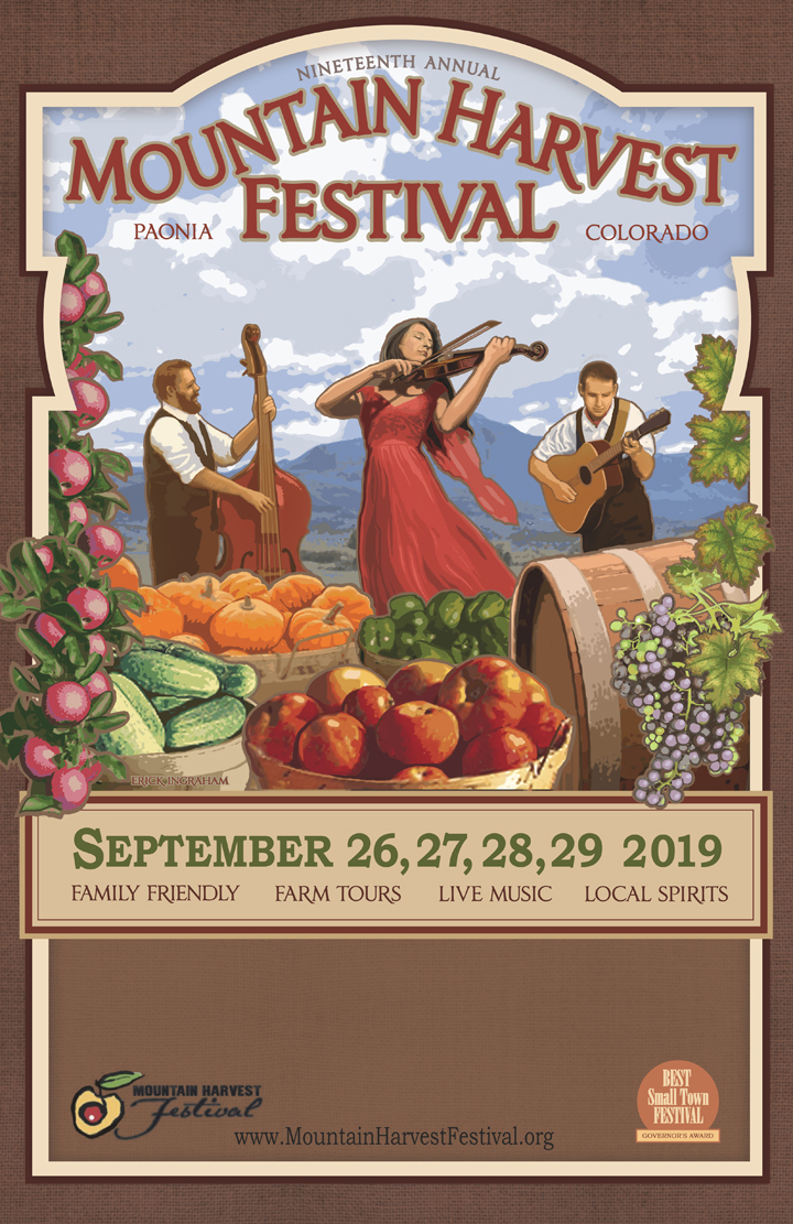I created the 2019 poster for the Mountain Harvest Festival in Paonia, Colorado