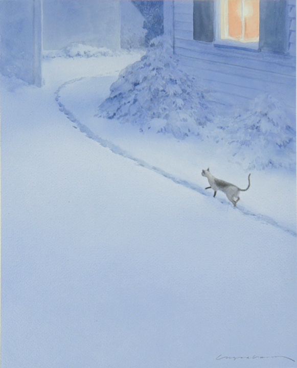 Many of my books were done in watercolor. Here in  Henry the Christmas Cat , Henry is on the trail of a lost lamb.