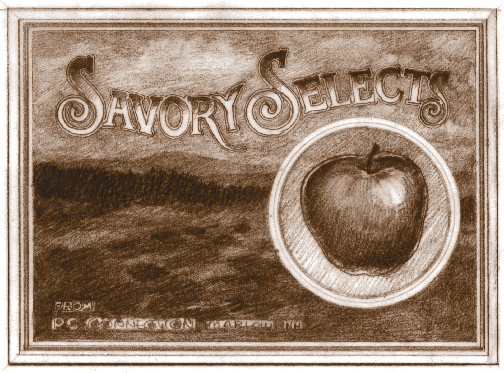 A sketch aiming at the fruit crate label style