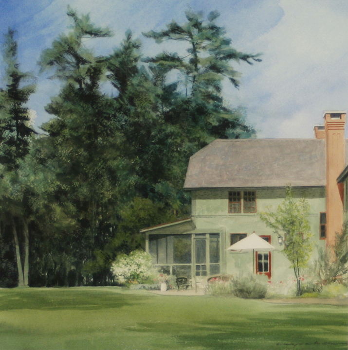 A plein air painting of a lake house in Dublin, New Hampshire