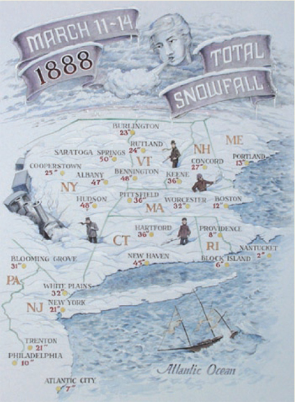 Map of the historic winter of 1888. Yankee Magazine.