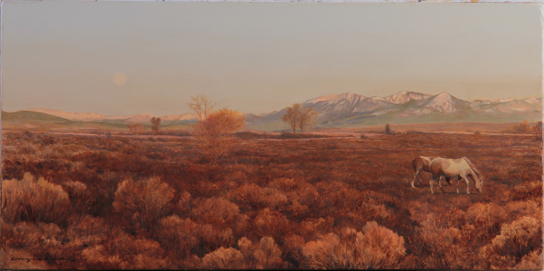 Moon Over Grand Valley - 10 x 20 Oil on Panel  Available at RAModern Gallery in Crested Butte.