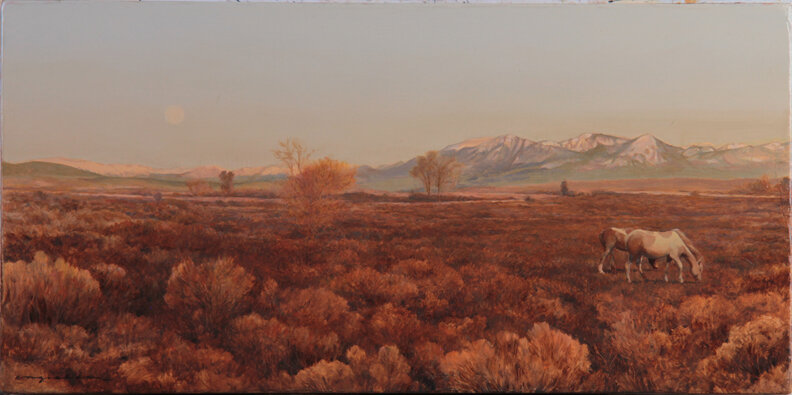 Moon over Grand Valley 10 x 20 oil on panel  - available at RAModern Gallery, Crested Butte, Colorado