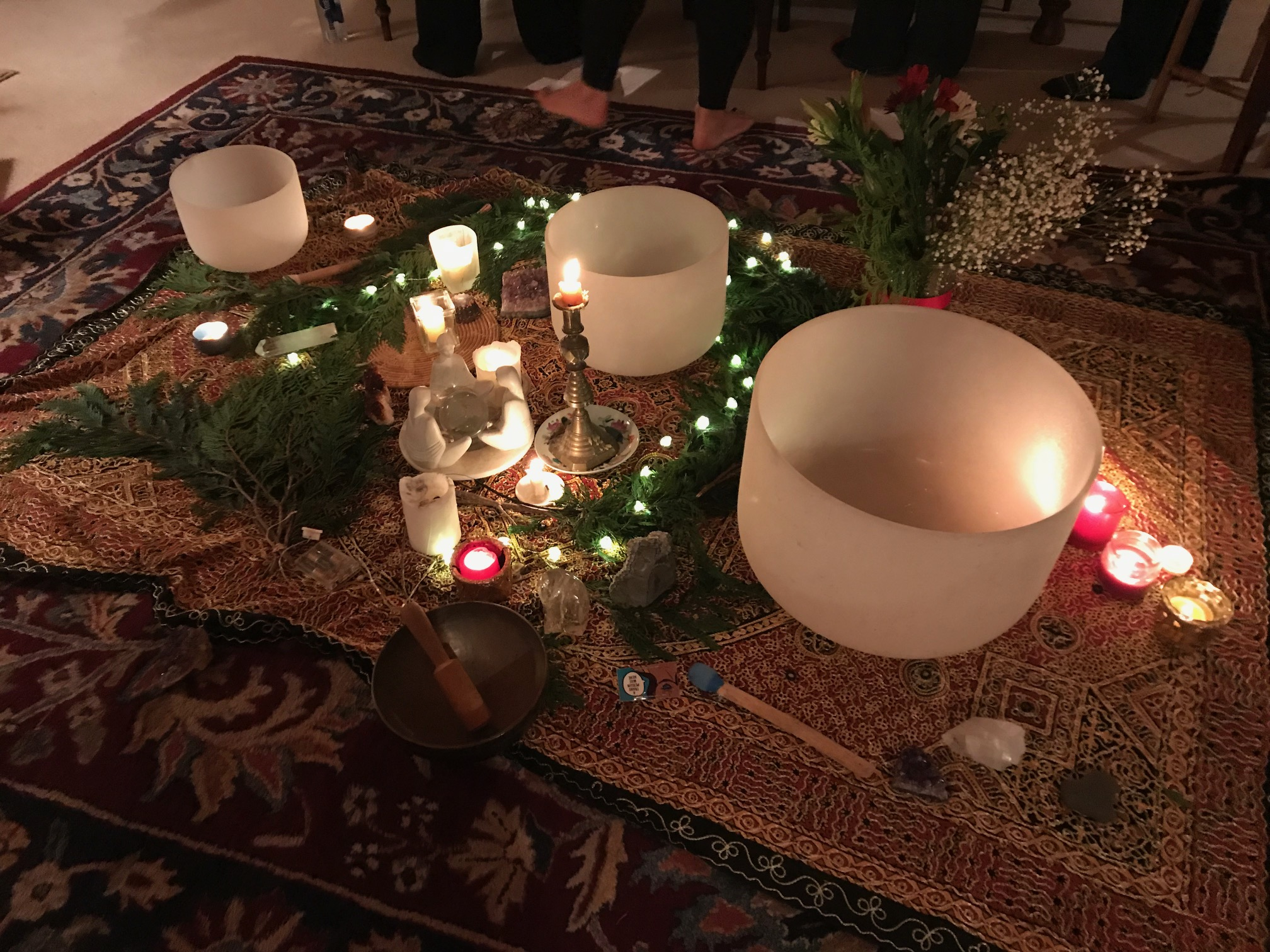 Winter Solstice gathering with crystal bowls in the central altar.  Contact Margot  to learn more about Equinox and Solstice gatherings.