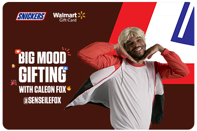 Your Big Mood video is accompanied with a Walmart gift card that automatically saves to apple wallet and is redeemable for one Snickers bar.