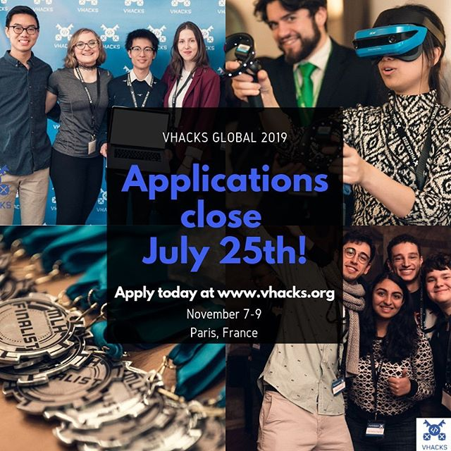 Missed out on the first wave of applications for VHacks Global? .  Have no fear, because our application has OFFICIALLY RE-OPENED and will be open until June 25th! .  Apply today at www.vhacks.org and feel free to reach out at team@vhacks.org for further inquiries. Travel reimbursements may be requested by all applicants. .  We hope to see you in Paris, France for VHacks Global from November 7th-9th!