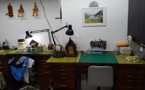 A typical clockmaker's desk
