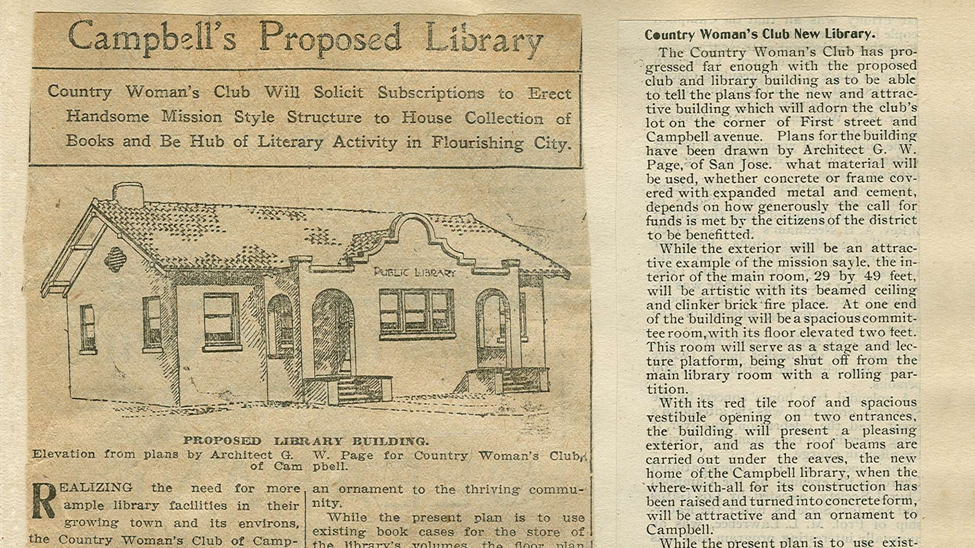 Newspaper clipping from 1907 of the CWCC's proposed library