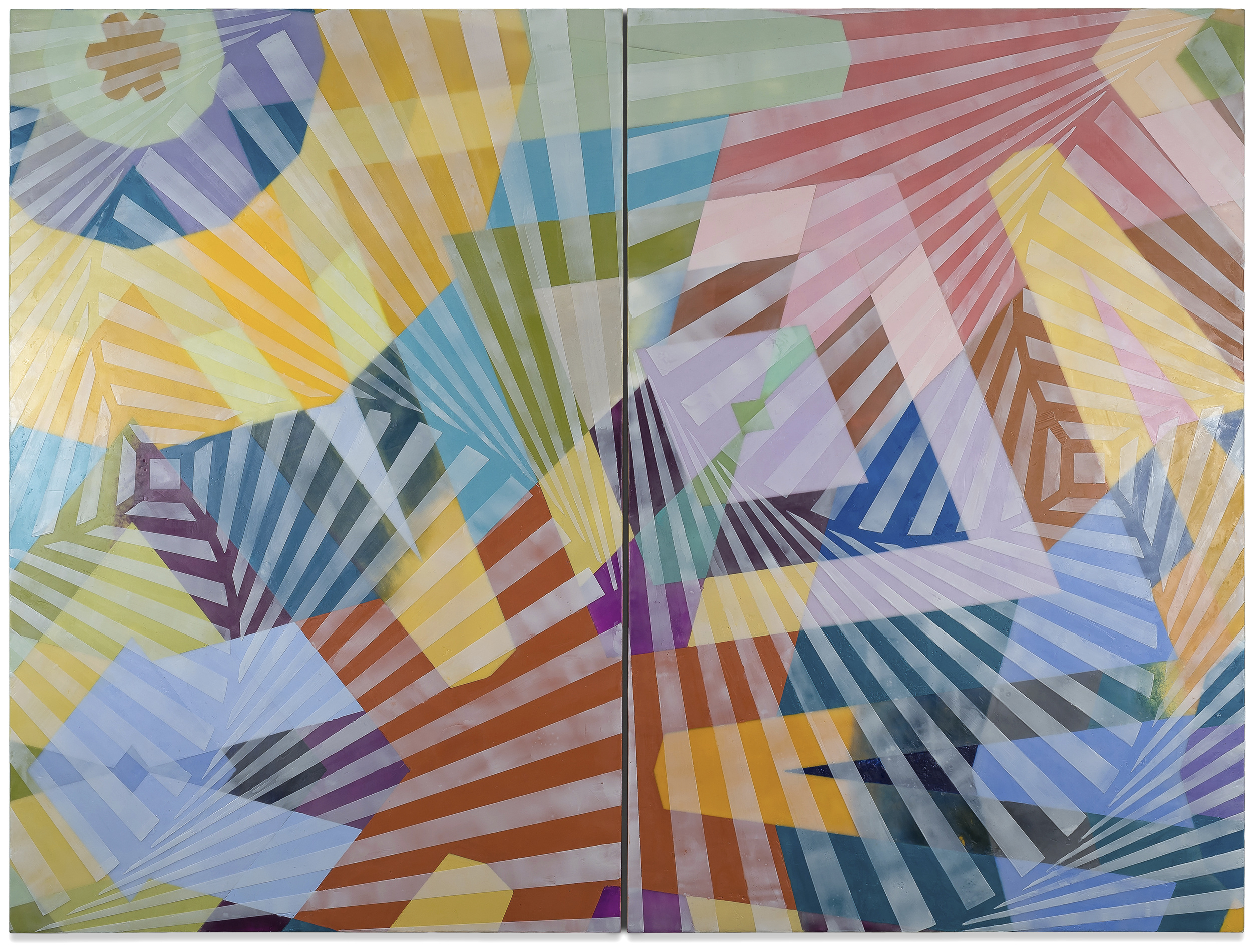 Ruche Off 0565.2  encaustic on panel 30 x 40 inches (diptych) 2015