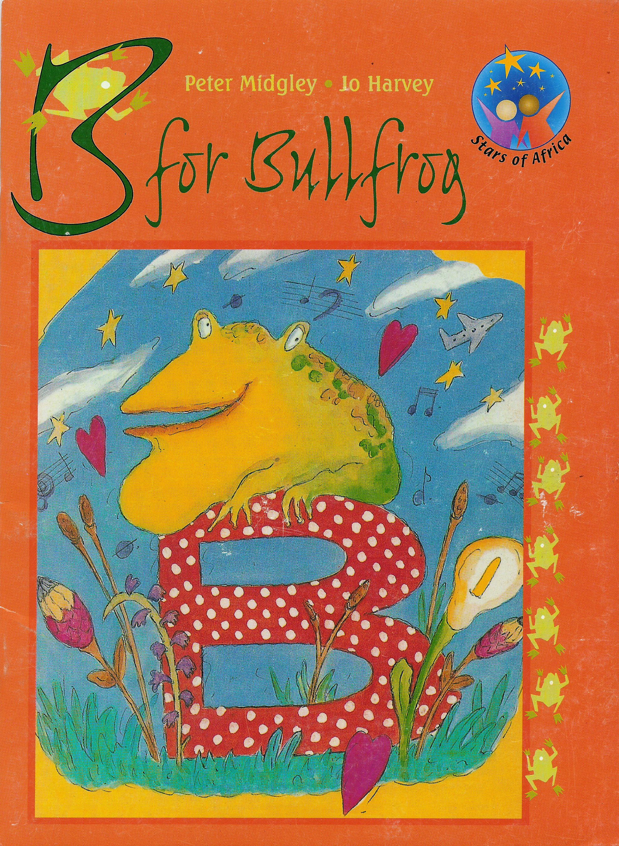 B for Bullfrog - 1996 24 pages | ISBN 9780636046054Dad hates it wen the bullfrogs join him for choir practice. Oom Daantjie loves the sound of bullfrogs. Boytjie, Betsy, Basie and the rest of the gang devise a plan…you can buy B for Bullfrog directly from my online store.