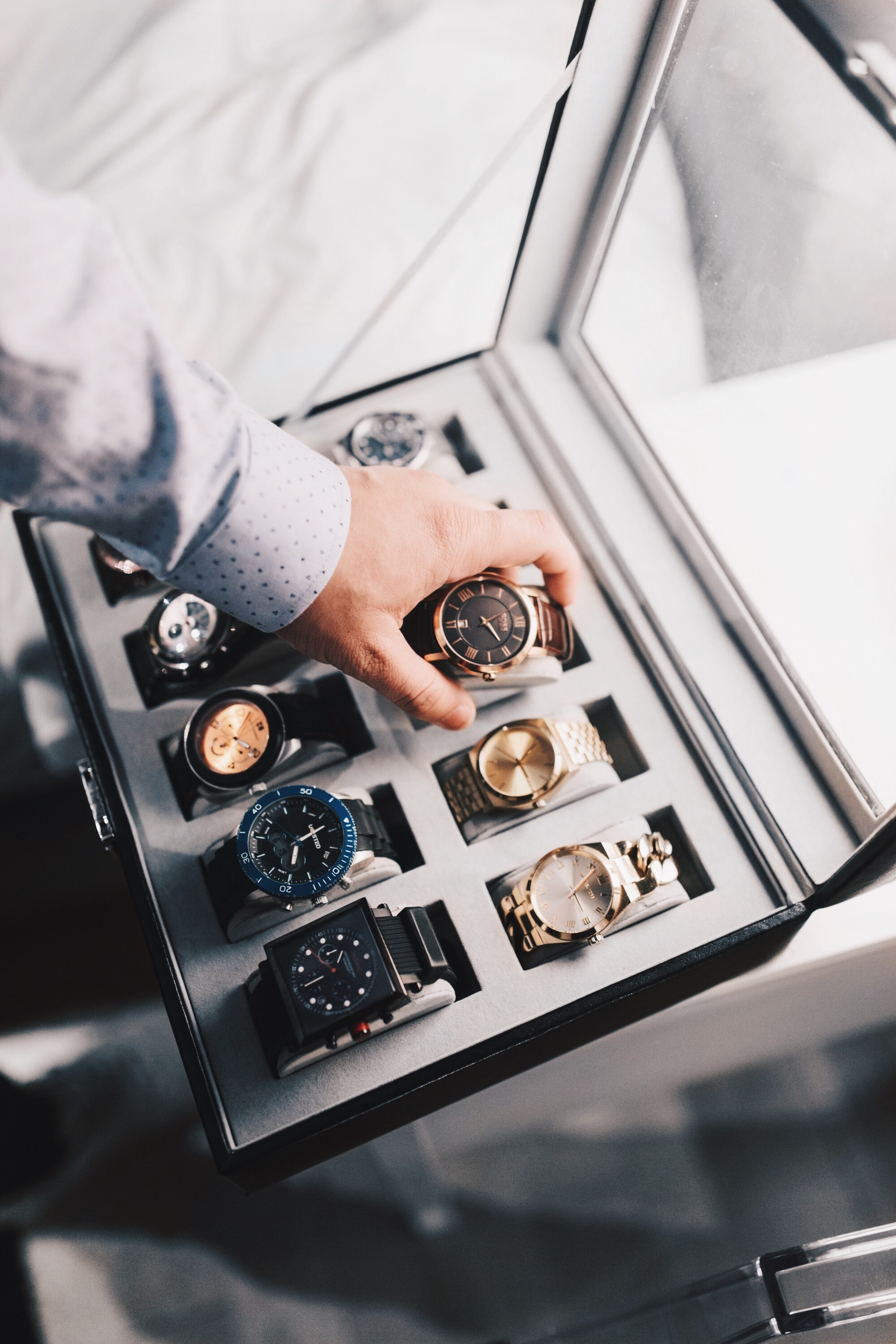 A box of Watches. AND, SWIPE RIGHT's Service: Dating Profile Styling. We Style you, we take your pictures, and we write your dating profile bio. A styling agency for dating profiles #TheDatingProfileStylist