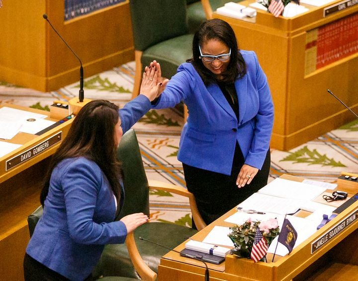 Rep. Janelle Bynum (right), one of three co-sponsors of the Oregon bill. Associated Press, 2019.