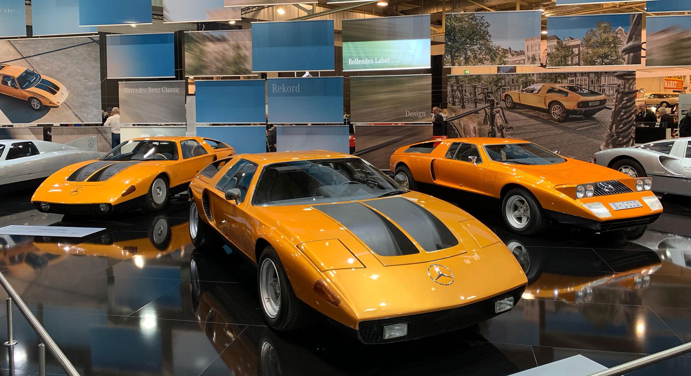The Mercedes Benz Exhibit had some amazing cars that I'd never seen before - apparently Orange was big back then?
