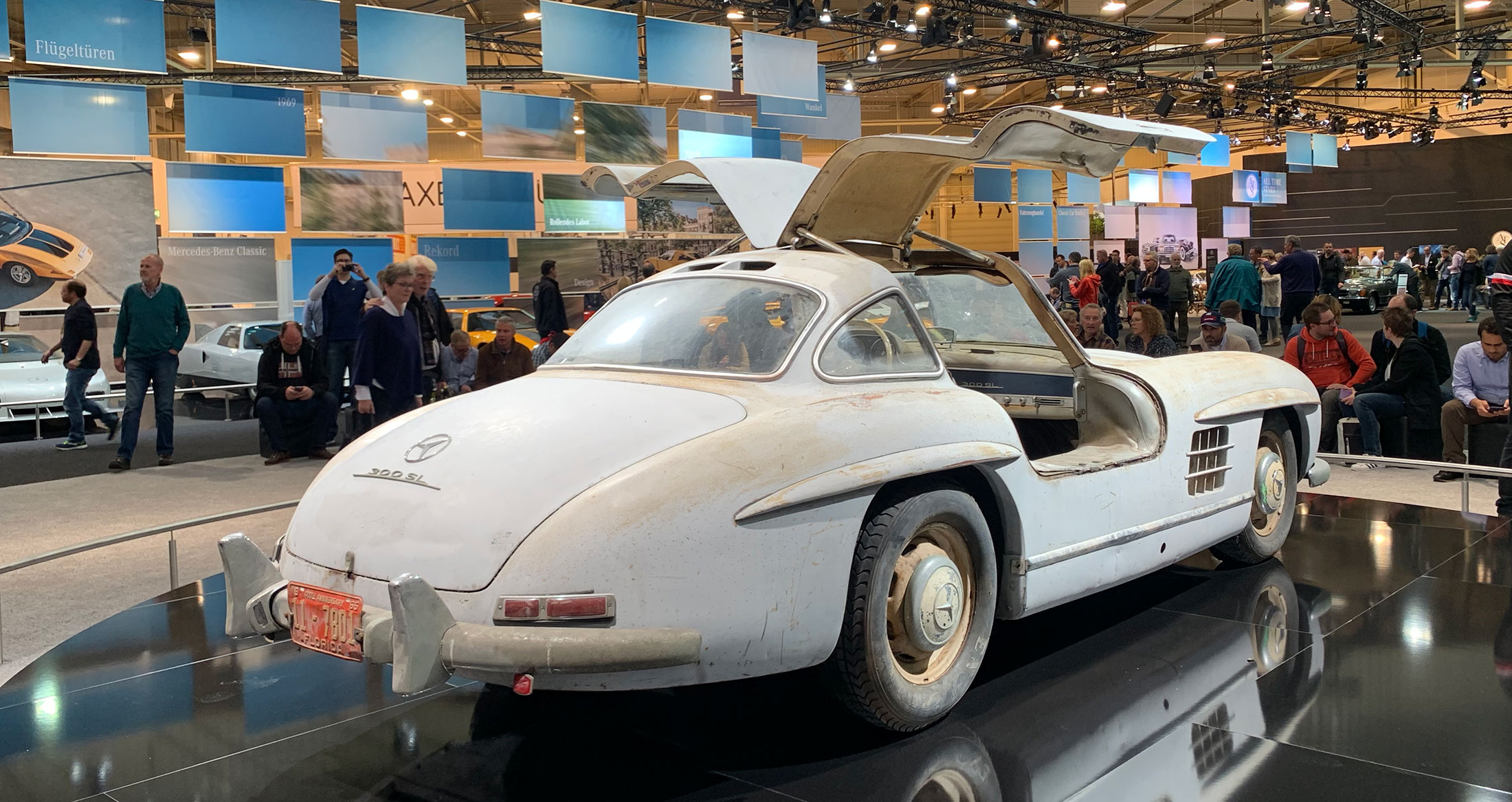 Legit barn-find from Florida. Lots of SL Gullwings at Techno Classica…LOTS.