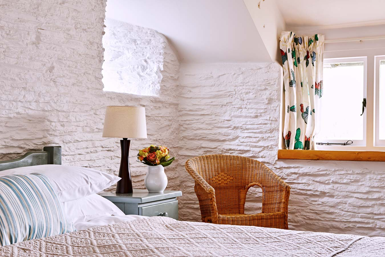 Detail of the light and airy master bedroom of Quarry cottage at Flear Farm holiday cottages.