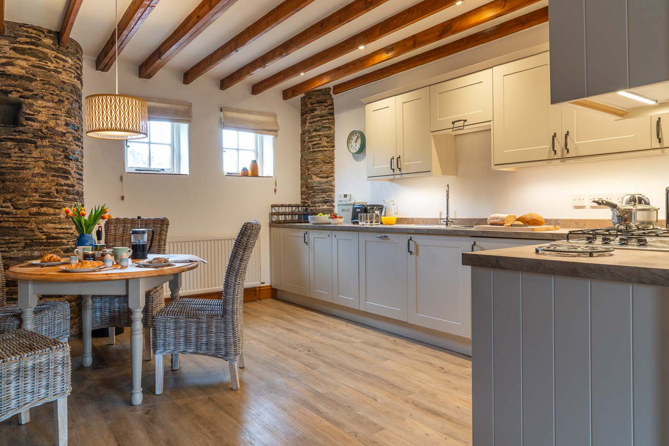 Mangers Cottage large and well equipped kitchen with Neff oven Flear Farm Cottages.