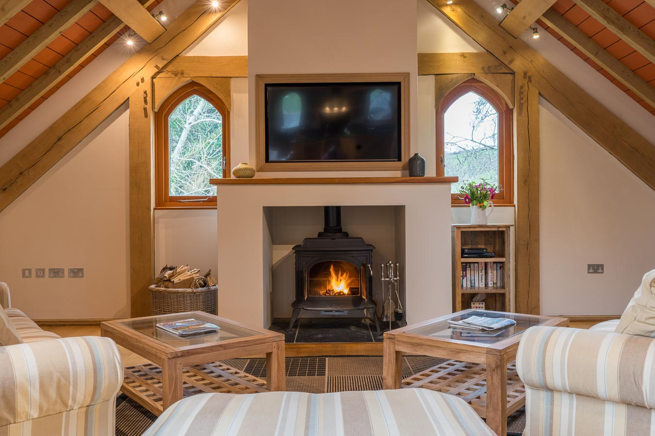 Wall mounted plasma TV and log burning stove make relaxing easy at Orchard Lodge, Flear Farm Holiday Cottage, Devon.