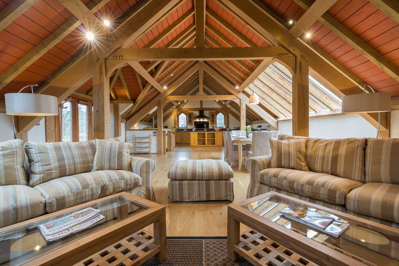 Orchard Lodge is a large luxury 5 star gold holiday cottage that sleeps 6. Offering you all the space you could need with its huge, beautiful open plan Oak living area.