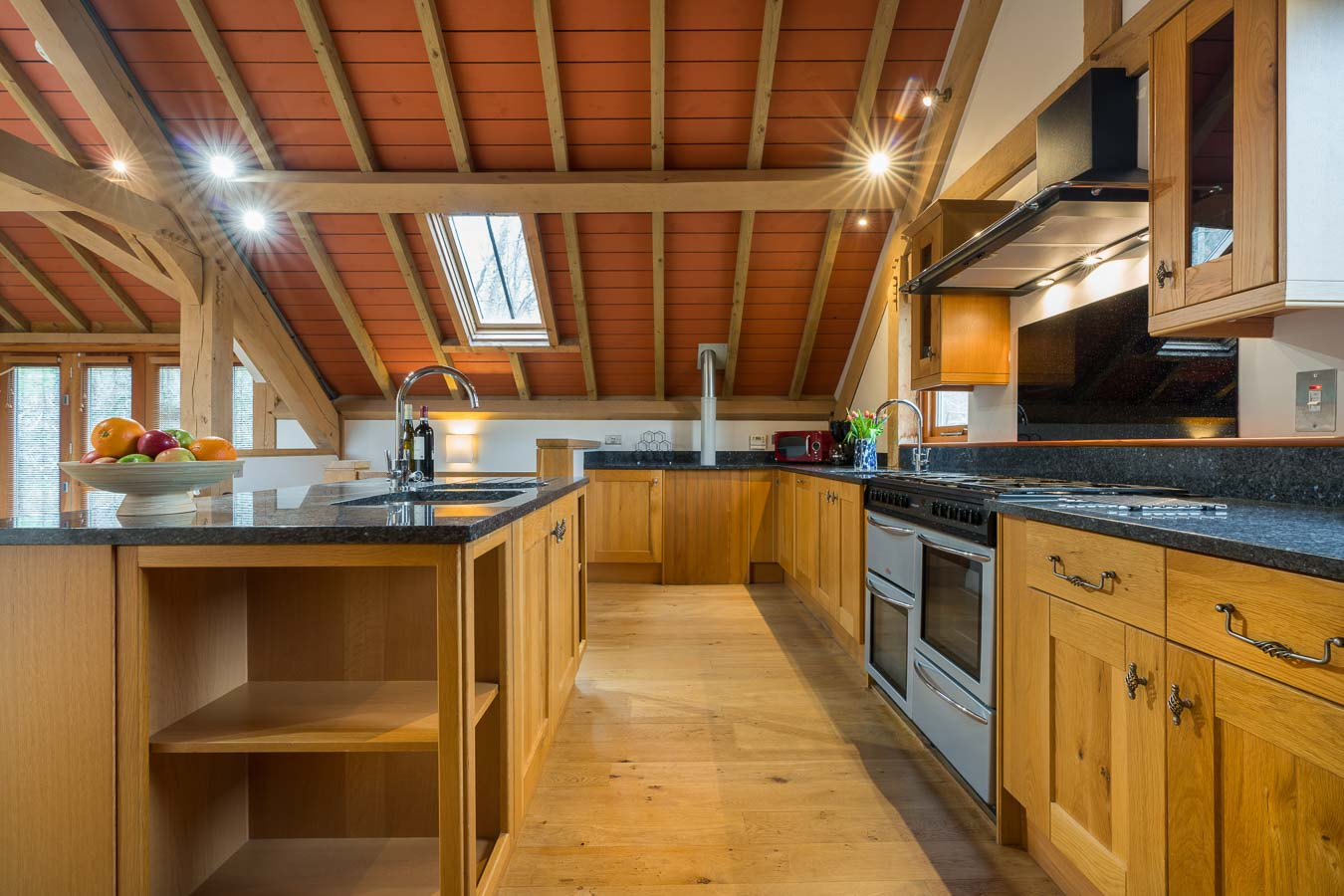 All the essentials plus some extras in the bespoke and 5 star kitchen in Orchard Lodge. Two sinks, two fridges and large gas cooking range, all set within granite and oak.