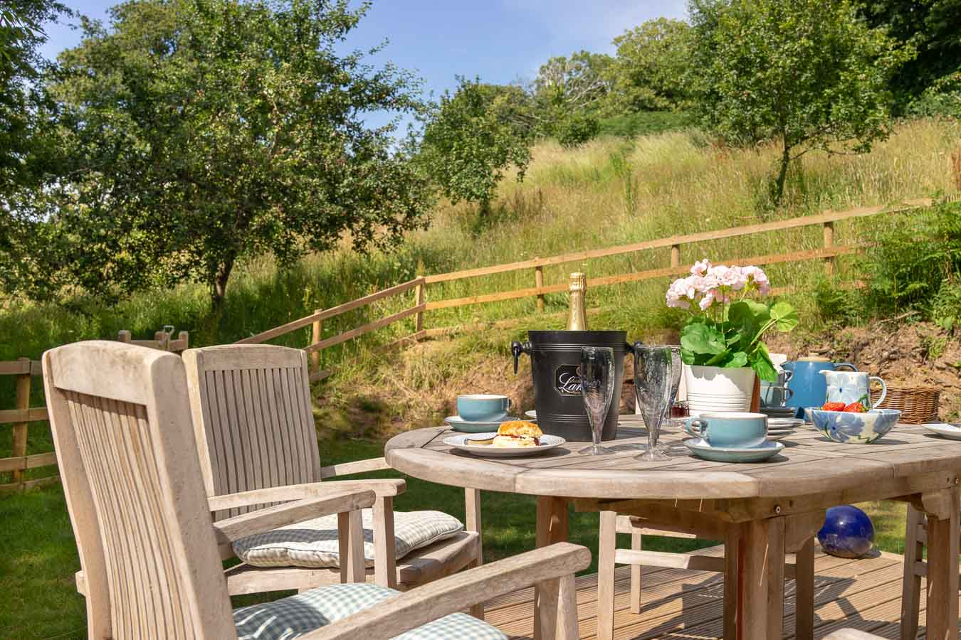Orchard Lodge's private deck and garden overlooking the beautiful and inspirit Orchard.