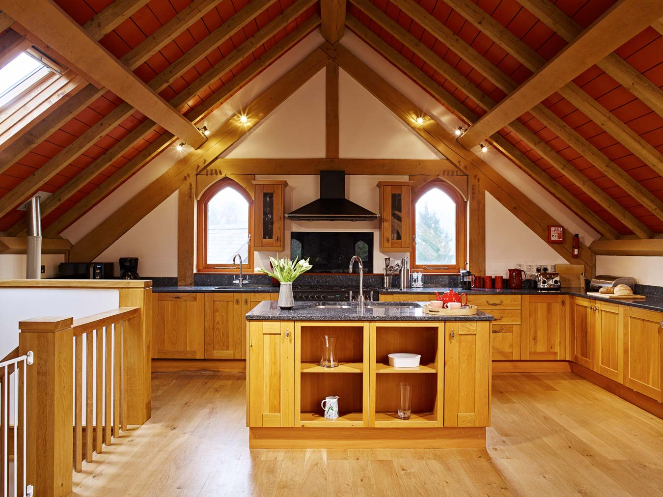 Granite work tops, bespoke kitchen, gas range and two fridges. Orchard Lodge's kitchen has everything and more you would need for an exceptional holiday in South Devon.