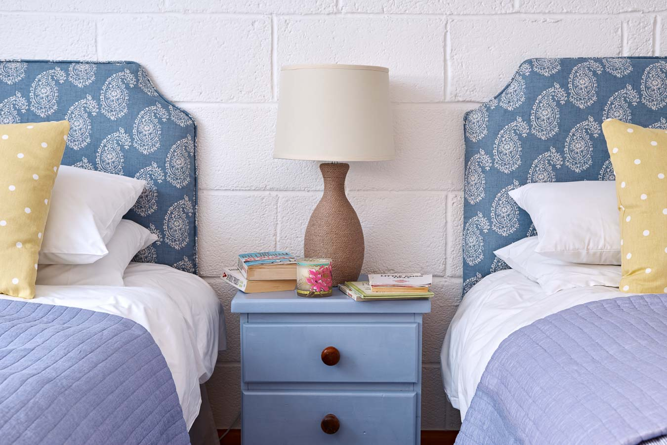 Detail of lovely blue twin room perfect for children or pushed together to make a superking. Family holidays made easy at The Stalls cottage Flear Farm.