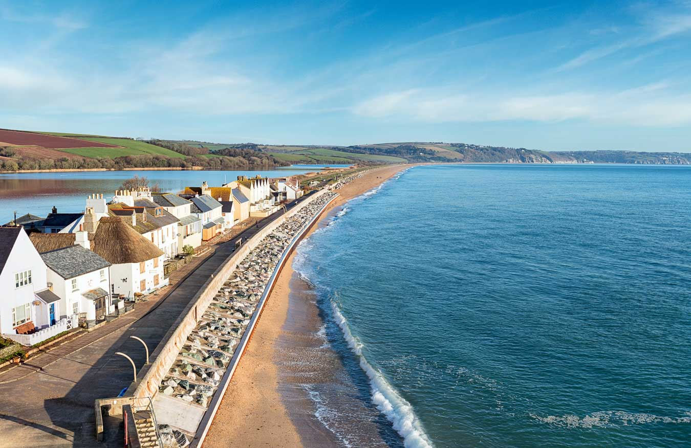 Torcorss Beach, showing the fresh water Nature Reserve Slapton Ley on the left. Devon.