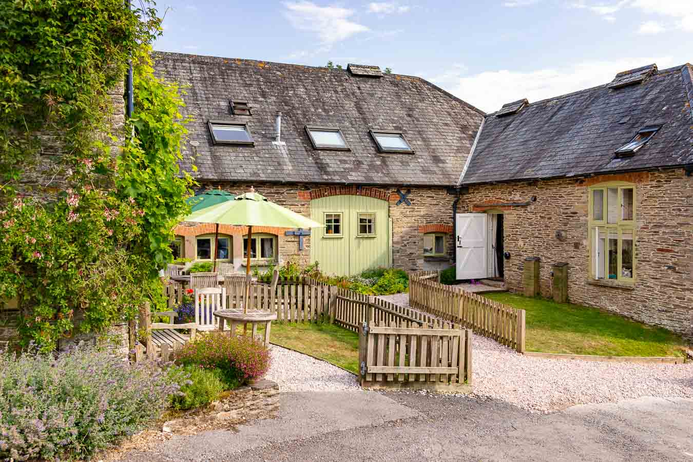 The beautiful court yard at Flear Farm holiday cottages where 1843 looks out.