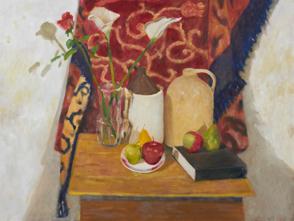 Still Life with Fruit, Jugs and Glass Vase