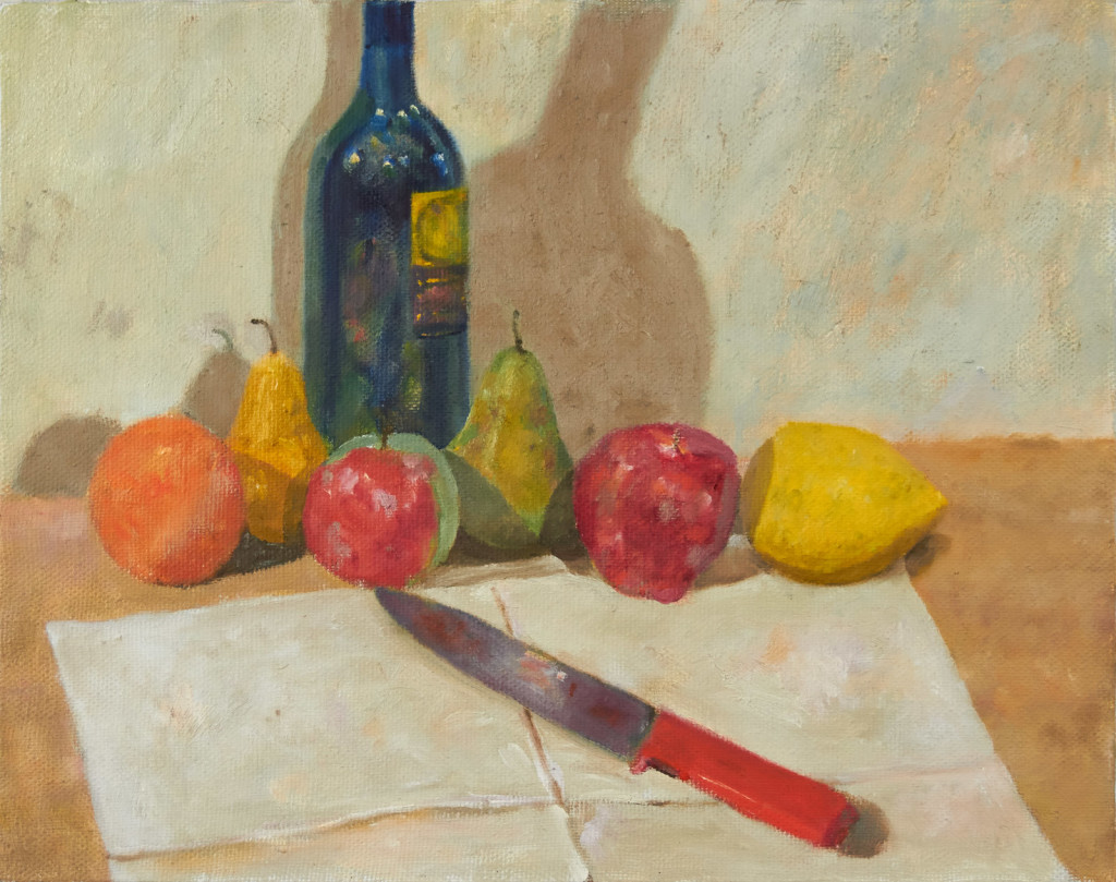 Bottle, Fruit and Knife
