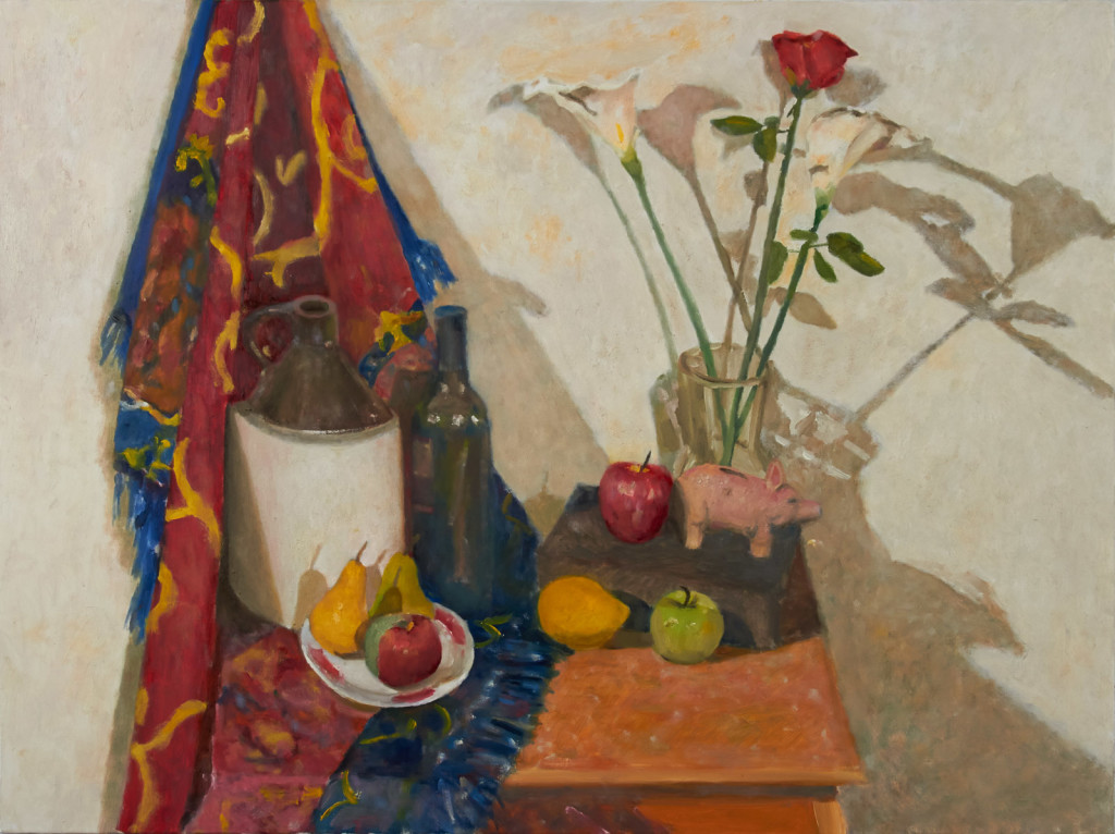 Still Life with Jug, Wine Bottle, Fruit and Piggybank ,  oil on linen, 30x40 in.
