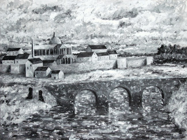 Figures with Bridge and Fortressed Town
