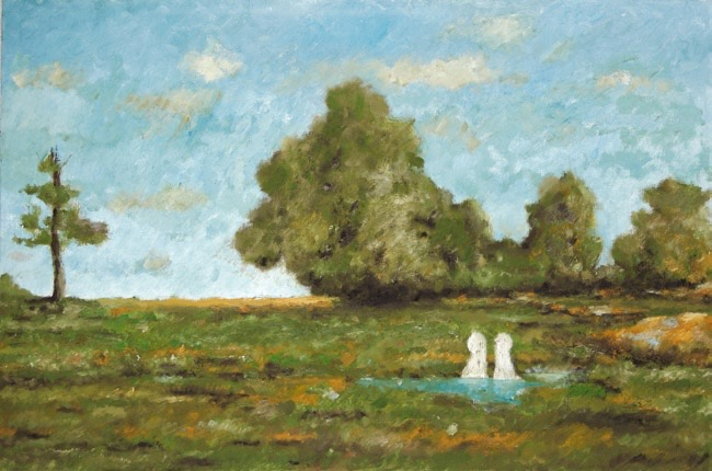 Two Figures in Landscape with Water