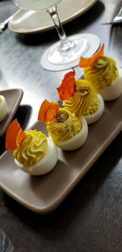 Deviled eggs with Pickled Serranos, Crispy Proscuitto