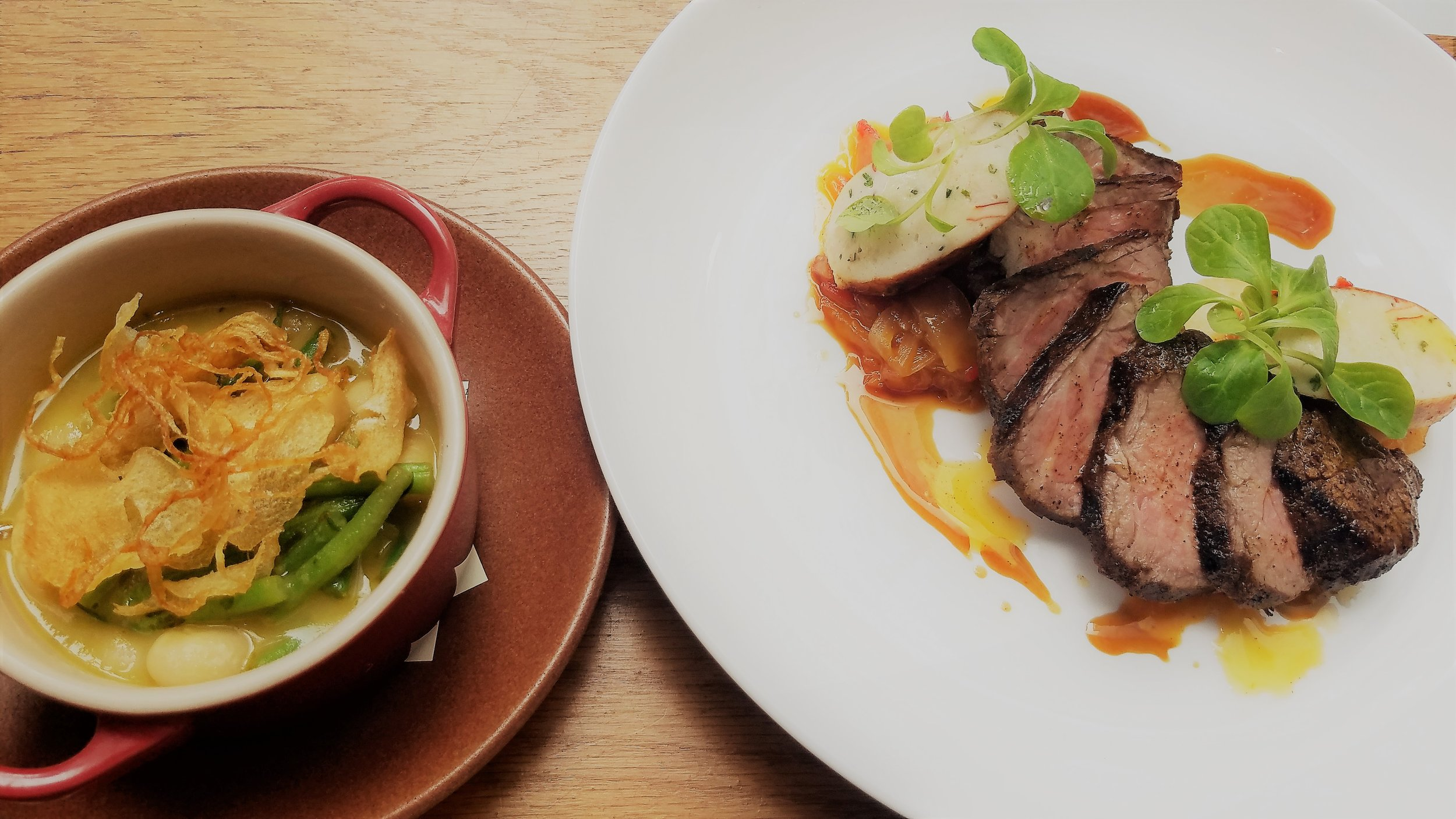 Smoked Tri Tip & Maine Lobster Sausage Jimmy Nardello Pepper Marmalade, Haricots Verts, Iacopi Butter Beans