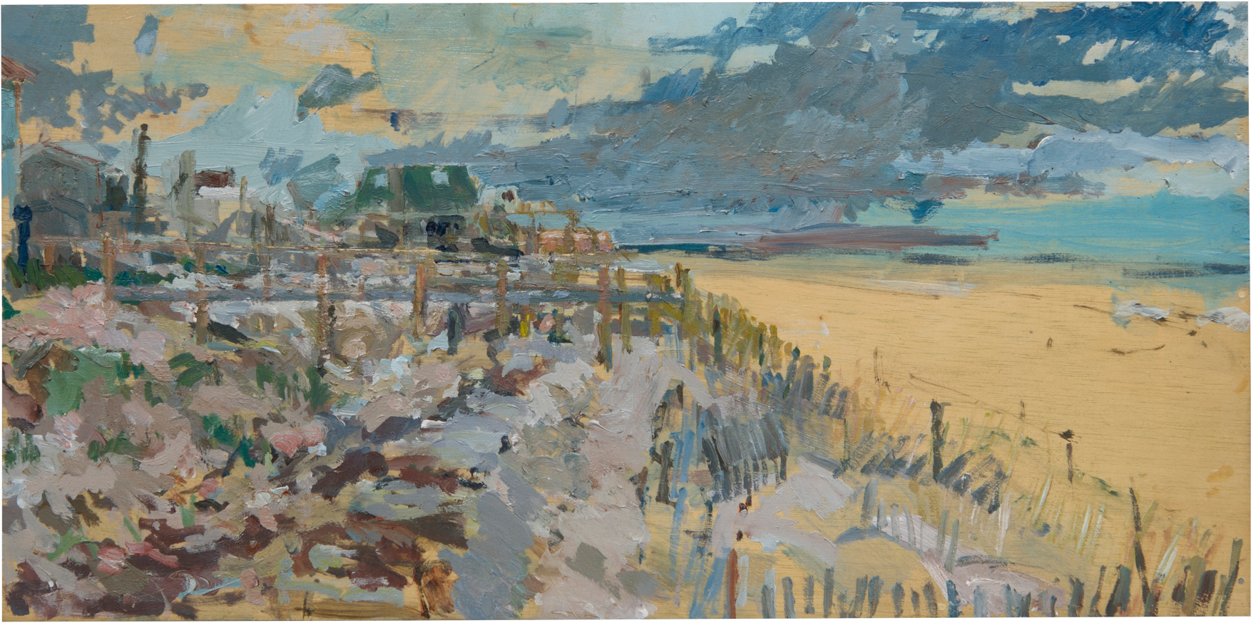 "Fire Island, Looking East Oil on Panel 12"" x 24"""