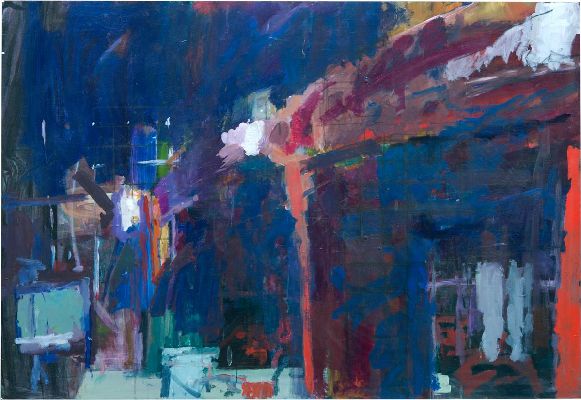 "Barn Lights Acrylic on Panel 48"" x 70"""
