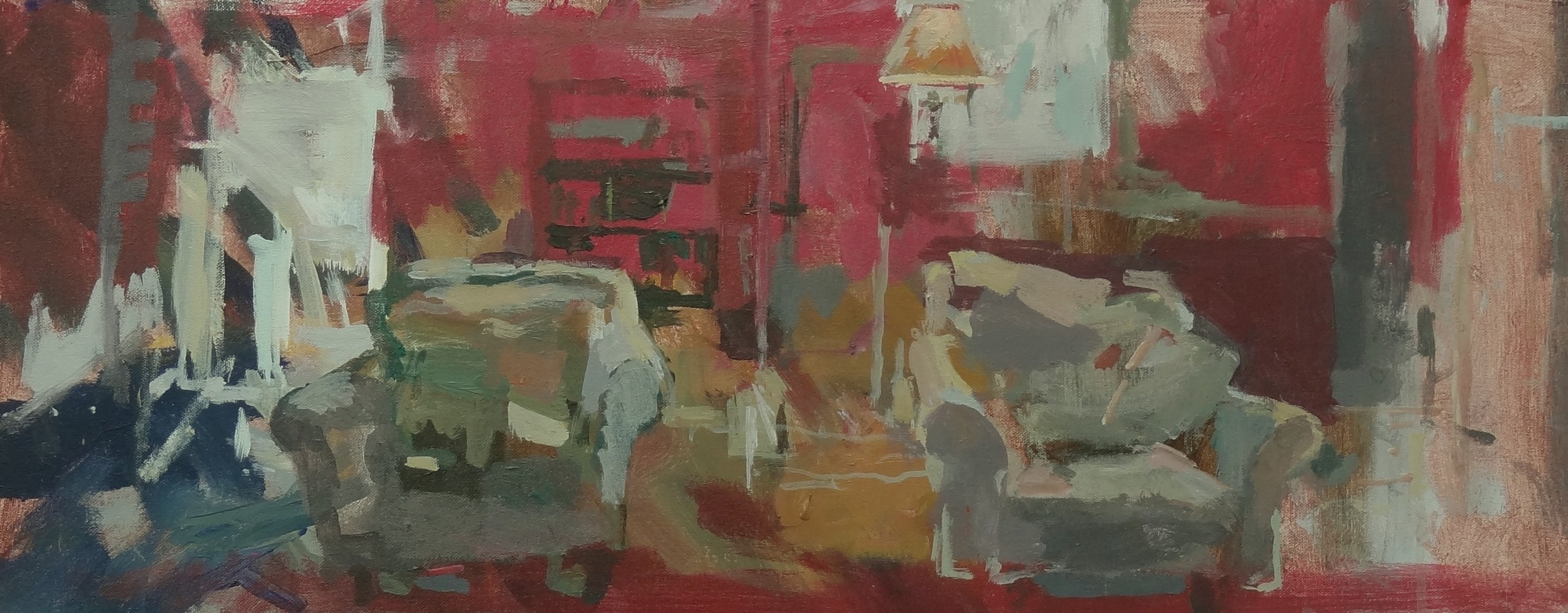 """Two Chairs Acrylic  on Canvas 16"""" x 32"""""""